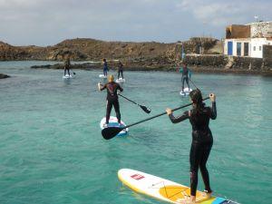 SUP auf Lobos, der benachbarten, unbewohnten Insel Fuerteventuras.